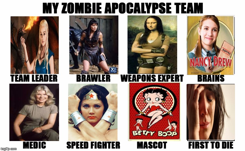 The ladies have it. | image tagged in my zombie apocalypse team v2,memes,female | made w/ Imgflip meme maker