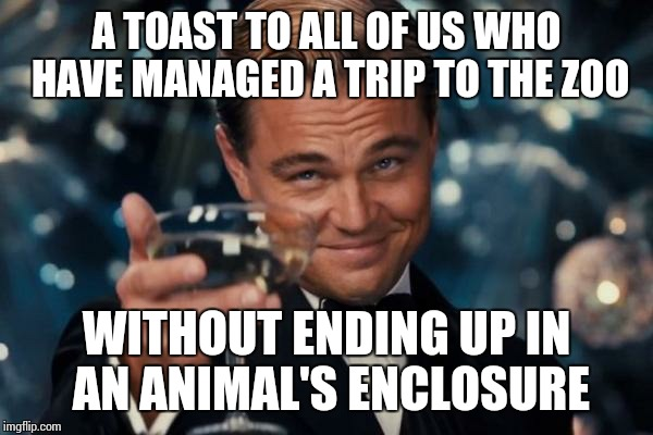 2016 must hold the record.  | A TOAST TO ALL OF US WHO HAVE MANAGED A TRIP TO THE ZOO WITHOUT ENDING UP IN AN ANIMAL'S ENCLOSURE | image tagged in memes,leonardo dicaprio cheers | made w/ Imgflip meme maker