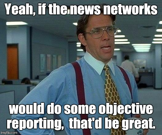 That Would Be Great Meme | Yeah, if the news networks would do some objective reporting,  that'd be great. | image tagged in memes,that would be great | made w/ Imgflip meme maker