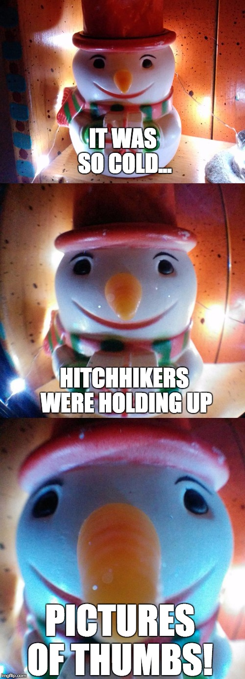 It was so cold... thumbs. | IT WAS SO COLD... PICTURES OF THUMBS! HITCHHIKERS WERE HOLDING UP | image tagged in snow joke,snowman,letsgetwordy,hitchhiker,thumb,pictures | made w/ Imgflip meme maker