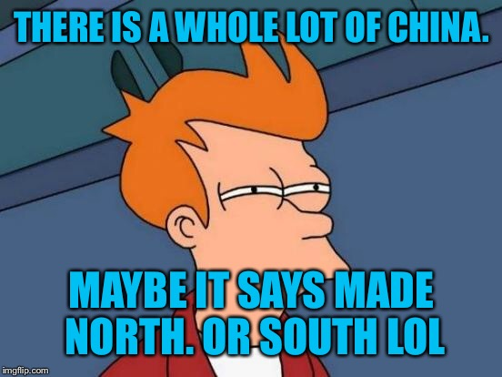 Futurama Fry Meme | THERE IS A WHOLE LOT OF CHINA. MAYBE IT SAYS MADE NORTH. OR SOUTH LOL | image tagged in memes,futurama fry | made w/ Imgflip meme maker