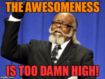 Too Damn High Meme | THE AWESOMENESS IS TOO DAMN HIGH! | image tagged in memes,too damn high | made w/ Imgflip meme maker