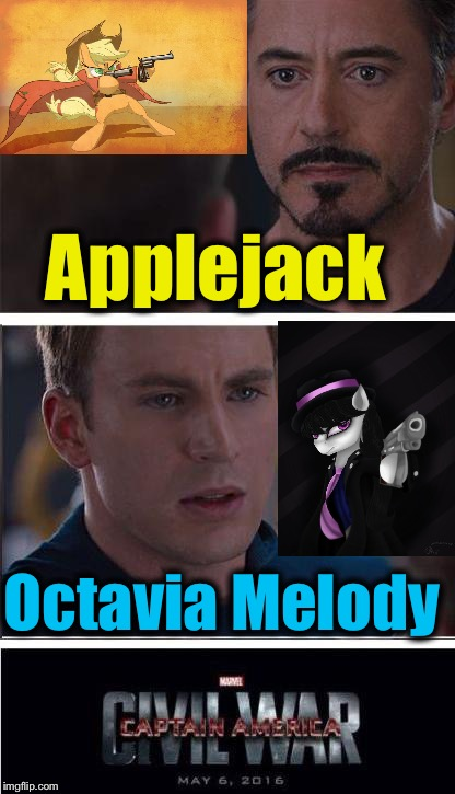 My Little Assassin Pony |  Applejack; Octavia Melody | image tagged in memes,marvel civil war 2,evilmandoevil,funny | made w/ Imgflip meme maker
