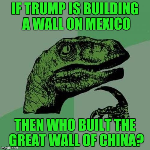 WHO | IF TRUMP IS BUILDING A WALL ON MEXICO THEN WHO BUILT THE GREAT WALL OF CHINA? | image tagged in memes,philosoraptor,wall,wall of china,who | made w/ Imgflip meme maker