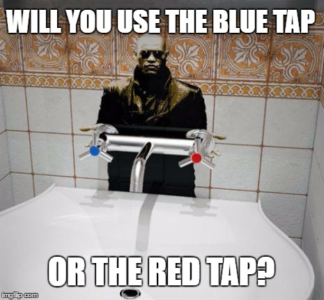 You use the Blue tap and your feelings end. You use the Red tap you stay warm but slowly burn yourself. |  WILL YOU USE THE BLUE TAP; OR THE RED TAP? | image tagged in matrix,tap,red,blue | made w/ Imgflip meme maker