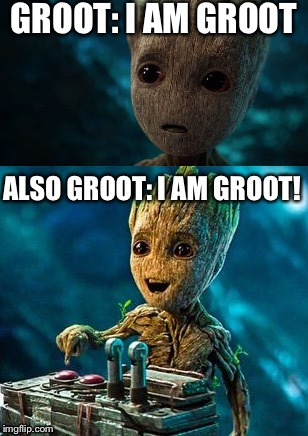 What Groot is Really Thinking! |  GROOT: I AM GROOT; ALSO GROOT: I AM GROOT! | image tagged in groot | made w/ Imgflip meme maker