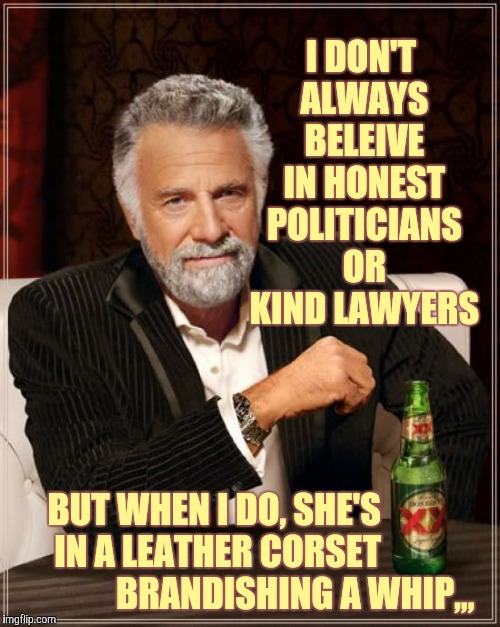 The Most Interesting Man In The World Meme | I DON'T ALWAYS BELEIVE IN HONEST POLITICIANS OR KIND LAWYERS BUT WHEN I DO, SHE'S           IN A LEATHER CORSET                         BRAN | image tagged in memes,the most interesting man in the world | made w/ Imgflip meme maker