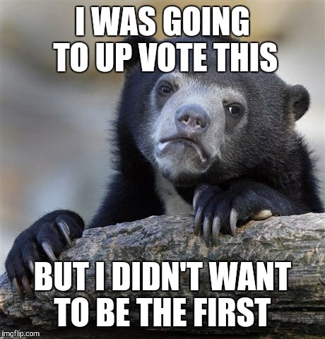 Confession Bear Meme | I WAS GOING TO UP VOTE THIS BUT I DIDN'T WANT TO BE THE FIRST | image tagged in memes,confession bear | made w/ Imgflip meme maker