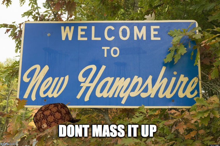 NEW hampshire | DONT MASS IT UP | image tagged in new hampshire,scumbag | made w/ Imgflip meme maker