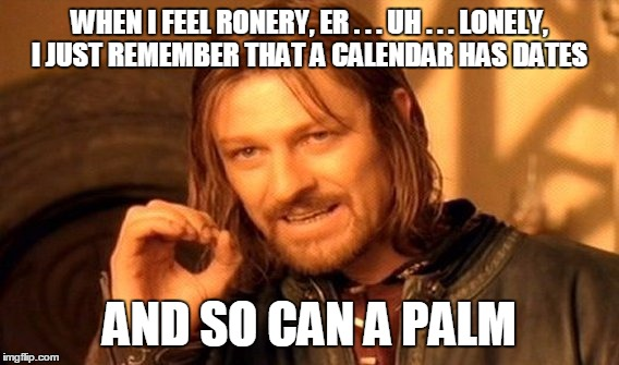 One Does Not Simply Meme | WHEN I FEEL RONERY, ER . . . UH . . . LONELY, I JUST REMEMBER THAT A CALENDAR HAS DATES AND SO CAN A PALM | image tagged in memes,one does not simply | made w/ Imgflip meme maker