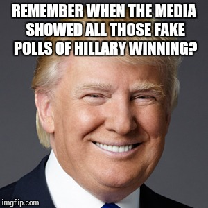 REMEMBER WHEN THE MEDIA SHOWED ALL THOSE FAKE POLLS OF HILLARY WINNING? | made w/ Imgflip meme maker