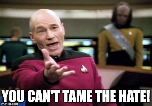 Picard Wtf Meme | YOU CAN'T TAME THE HATE! | image tagged in memes,picard wtf | made w/ Imgflip meme maker