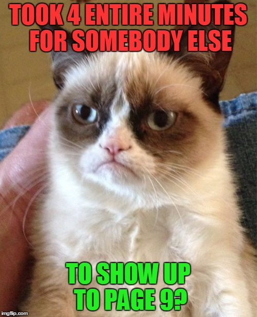 Grumpy Cat Meme | TOOK 4 ENTIRE MINUTES FOR SOMEBODY ELSE TO SHOW UP TO PAGE 9? | image tagged in memes,grumpy cat | made w/ Imgflip meme maker
