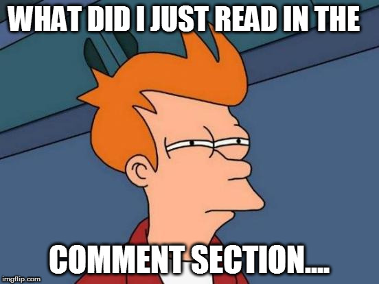 Futurama Fry Meme | WHAT DID I JUST READ IN THE COMMENT SECTION.... | image tagged in memes,futurama fry | made w/ Imgflip meme maker
