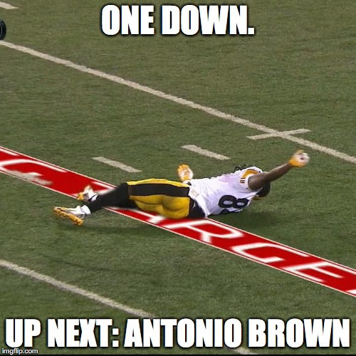 ONE DOWN. UP NEXT: ANTONIO BROWN | image tagged in antonio brown | made w/ Imgflip meme maker