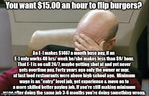 Captain Picard Facepalm Meme | You want $15.00 an hour to flip burgers? An E-1 makes $1467 a month base pay, if an E-1 only works 40 hrs/ week he/she makes less than $9/ h | image tagged in memes,captain picard facepalm | made w/ Imgflip meme maker