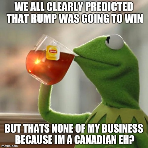 But That's None Of My Business Meme | WE ALL CLEARLY PREDICTED THAT RUMP WAS GOING TO WIN BUT THATS NONE OF MY BUSINESS BECAUSE IM A CANADIAN EH? | image tagged in memes,but thats none of my business,kermit the frog | made w/ Imgflip meme maker