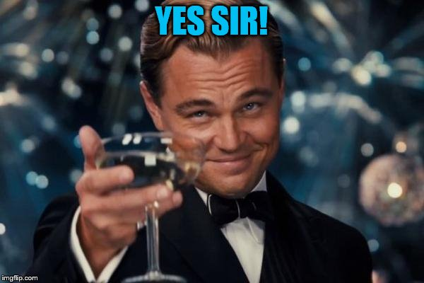 Leonardo Dicaprio Cheers Meme | YES SIR! | image tagged in memes,leonardo dicaprio cheers | made w/ Imgflip meme maker