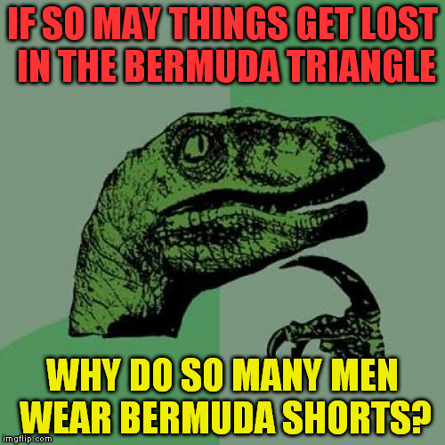 Philosoraptor Meme | IF SO MAY THINGS GET LOST IN THE BERMUDA TRIANGLE WHY DO SO MANY MEN WEAR BERMUDA SHORTS? | image tagged in memes,philosoraptor | made w/ Imgflip meme maker