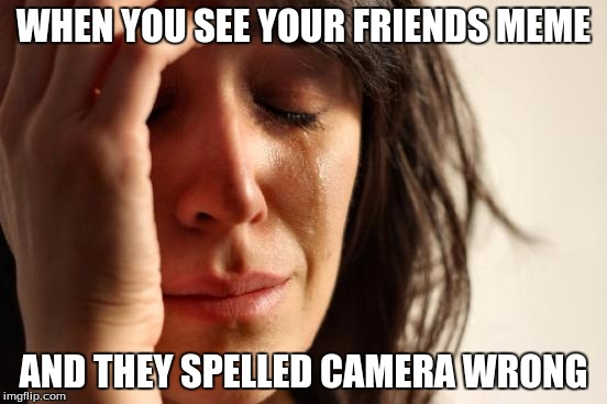 First World Problems Meme | WHEN YOU SEE YOUR FRIENDS MEME AND THEY SPELLED CAMERA WRONG | image tagged in memes,first world problems | made w/ Imgflip meme maker