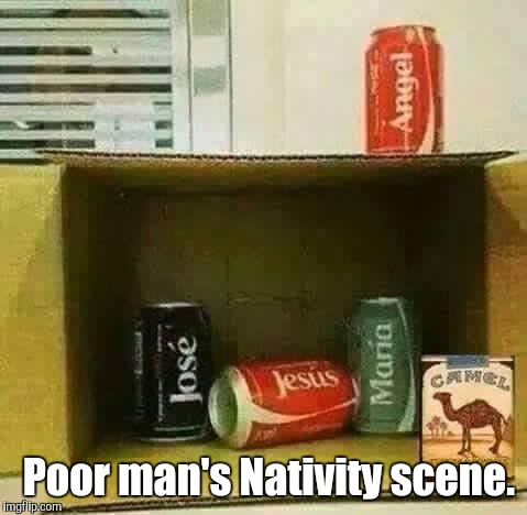 When you're on a low budget but you're in the spirit.  | Poor man's Nativity scene. | image tagged in christmas,funny meme,nativity | made w/ Imgflip meme maker
