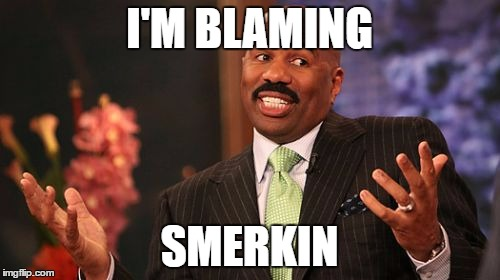 Steve Harvey Meme | I'M BLAMING SMERKIN | image tagged in memes,steve harvey | made w/ Imgflip meme maker