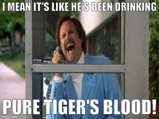 I MEAN IT'S LIKE HE'S BEEN DRINKING PURE TIGER'S BLOOD! | made w/ Imgflip meme maker
