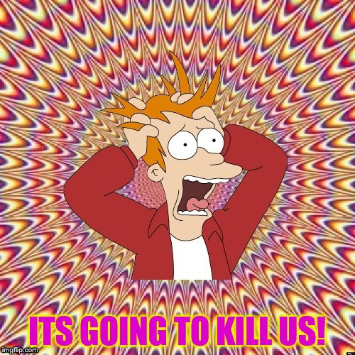 ITS GOING TO KILL US! | image tagged in freaked out fry | made w/ Imgflip meme maker