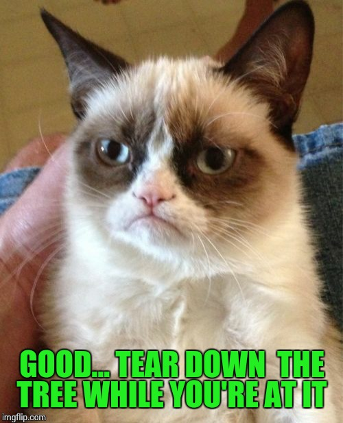 Grumpy Cat Meme | GOOD... TEAR DOWN  THE TREE WHILE YOU'RE AT IT | image tagged in memes,grumpy cat | made w/ Imgflip meme maker