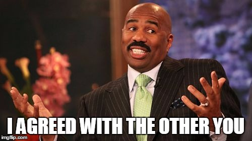 Steve Harvey Meme | I AGREED WITH THE OTHER YOU | image tagged in memes,steve harvey | made w/ Imgflip meme maker