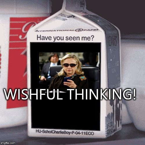 Hillary Clinton missing | WISHFUL THINKING! | image tagged in missing,hillary | made w/ Imgflip meme maker