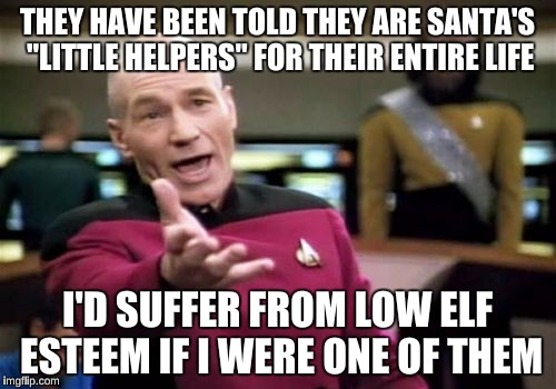 "Picard Wtf Meme | THEY HAVE BEEN TOLD THEY ARE SANTA'S ""LITTLE HELPERS"" FOR THEIR ENTIRE LIFE I'D SUFFER FROM LOW ELF ESTEEM IF I WERE ONE OF THEM 