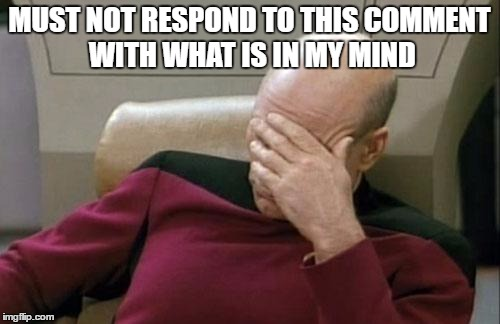 Captain Picard Facepalm Meme | MUST NOT RESPOND TO THIS COMMENT WITH WHAT IS IN MY MIND | image tagged in memes,captain picard facepalm | made w/ Imgflip meme maker