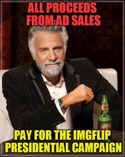 The Most Interesting Man In The World Meme | ALL PROCEEDS FROM AD SALES PAY FOR THE IMGFLIP PRESIDENTIAL CAMPAIGN | image tagged in memes,the most interesting man in the world | made w/ Imgflip meme maker