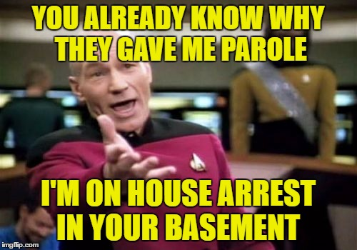 Picard Wtf Meme | YOU ALREADY KNOW WHY THEY GAVE ME PAROLE I'M ON HOUSE ARREST IN YOUR BASEMENT | image tagged in memes,picard wtf | made w/ Imgflip meme maker