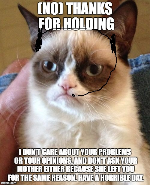 Grumpy Cat Customer Service Hotline | (NO) THANKS FOR HOLDING I DON'T CARE ABOUT YOUR PROBLEMS OR YOUR OPINIONS. AND DON'T ASK YOUR MOTHER EITHER BECAUSE SHE LEFT YOU FOR THE SAM | image tagged in memes,grumpy cat,customer service,advice to negative and stupid commenters | made w/ Imgflip meme maker
