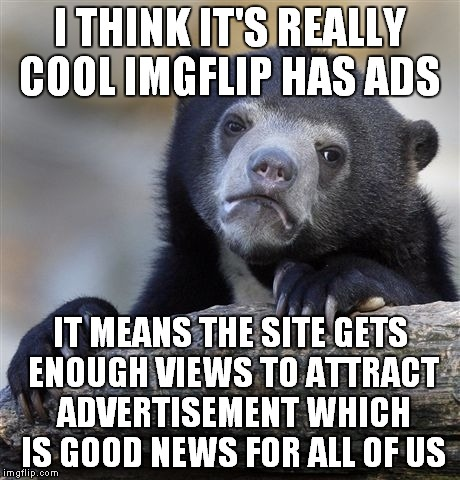 If the ads really bother you, you can get an imgflip pro account and help pay for the site that way... | I THINK IT'S REALLY COOL IMGFLIP HAS ADS IT MEANS THE SITE GETS ENOUGH VIEWS TO ATTRACT ADVERTISEMENT WHICH IS GOOD NEWS FOR ALL OF US | image tagged in memes,confession bear | made w/ Imgflip meme maker