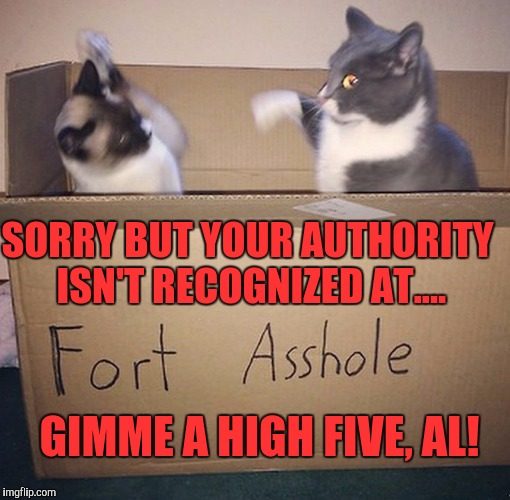 fort asshole | SORRY BUT YOUR AUTHORITY ISN'T RECOGNIZED AT.... GIMME A HIGH FIVE, AL! | image tagged in fort asshole | made w/ Imgflip meme maker