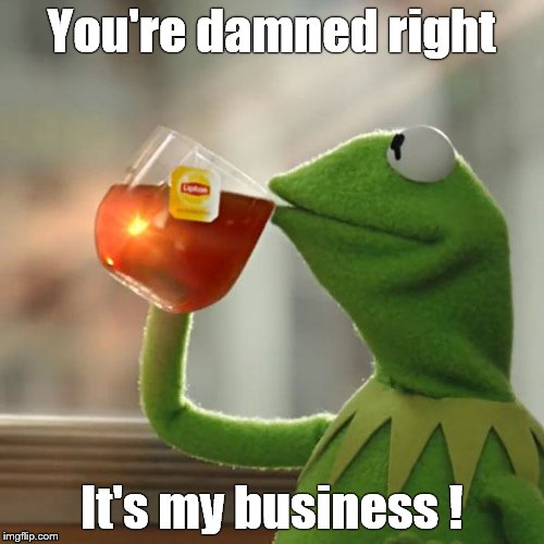 But Thats None Of My Business Meme | You're damned right It's my business ! | image tagged in memes,but thats none of my business,kermit the frog | made w/ Imgflip meme maker