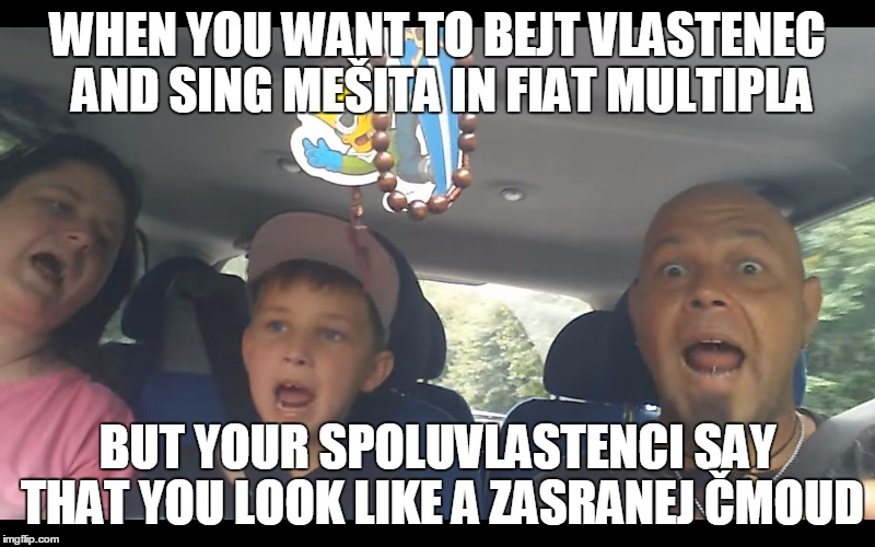 WHEN YOU WANT TO BEJT VLASTENEC AND SING MEŠITA IN FIAT MULTIPLA BUT YOUR SPOLUVLASTENCI SAY THAT YOU LOOK LIKE A ZASRANEJ ČMOUD | image tagged in vlastenec | made w/ Imgflip meme maker