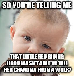 Skeptical Baby Meme | SO YOU'RE TELLING ME THAT LITTLE RED RIDING HOOD WASN'T ABLE TO TELL HER GRANDMA FROM A WOLF? | image tagged in memes,skeptical baby | made w/ Imgflip meme maker