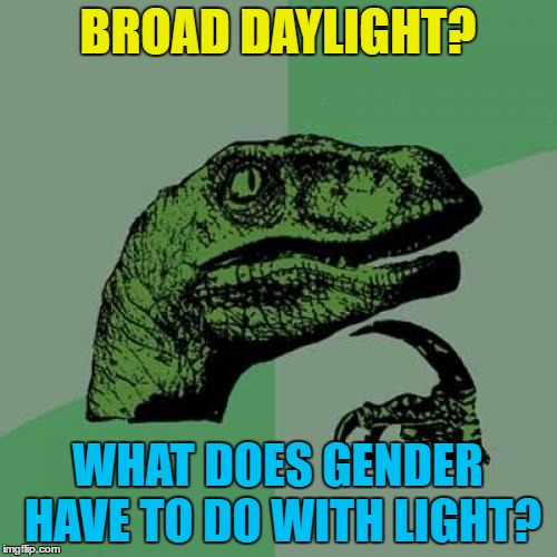 Philosoraptor Meme | BROAD DAYLIGHT? WHAT DOES GENDER HAVE TO DO WITH LIGHT? | image tagged in memes,philosoraptor | made w/ Imgflip meme maker