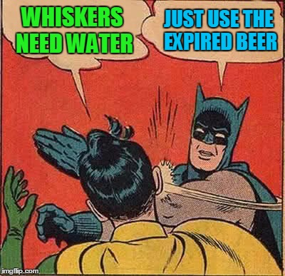 Batman Slapping Robin Meme | WHISKERS NEED WATER JUST USE THE EXPIRED BEER | image tagged in memes,batman slapping robin | made w/ Imgflip meme maker