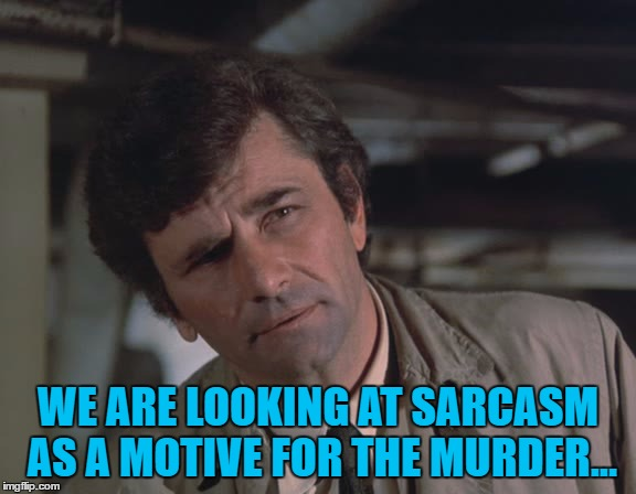 WE ARE LOOKING AT SARCASM AS A MOTIVE FOR THE MURDER... | made w/ Imgflip meme maker