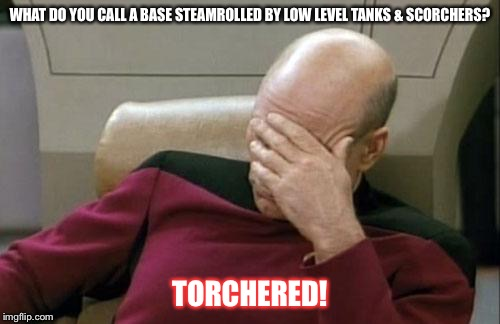 Captain Picard Facepalm Meme | WHAT DO YOU CALL A BASE STEAMROLLED BY LOW LEVEL TANKS & SCORCHERS? TORCHERED! | image tagged in memes,captain picard facepalm | made w/ Imgflip meme maker