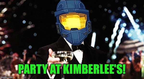 Cheers Ghost | PARTY AT KIMBERLEE'S! | image tagged in cheers ghost | made w/ Imgflip meme maker
