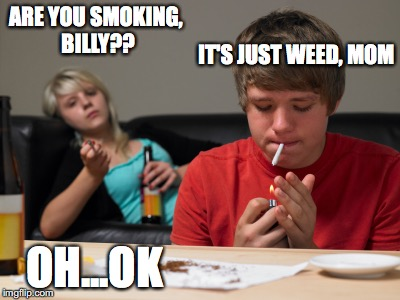 ARE YOU SMOKING, BILLY?? IT'S JUST WEED, MOM; OH...OK | image tagged in liberal kids | made w/ Imgflip meme maker