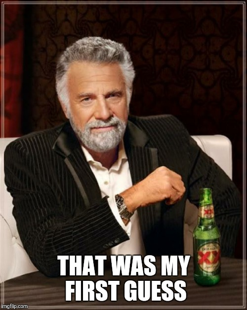 The Most Interesting Man In The World Meme | THAT WAS MY FIRST GUESS | image tagged in memes,the most interesting man in the world | made w/ Imgflip meme maker