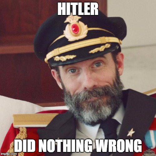 Captain Obvious |  HITLER; DID NOTHING WRONG | image tagged in captain obvious | made w/ Imgflip meme maker