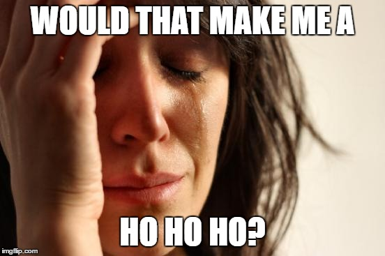 First World Problems Meme | WOULD THAT MAKE ME A HO HO HO? | image tagged in memes,first world problems | made w/ Imgflip meme maker